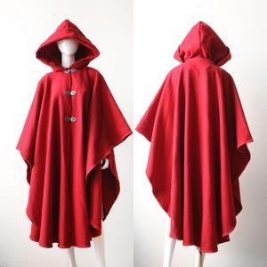 Hooded Red Wool Cloak